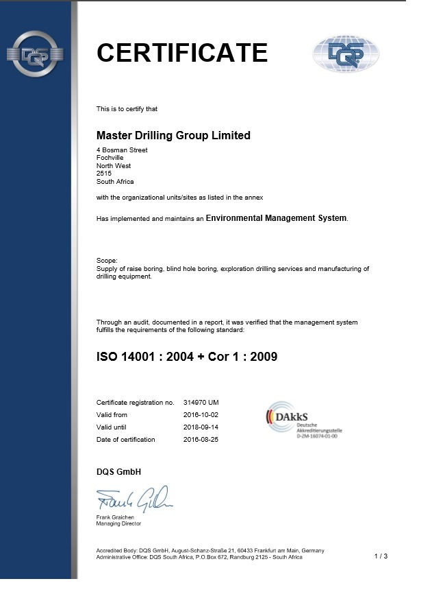 Master Drilling 2016-2019_ISO14001