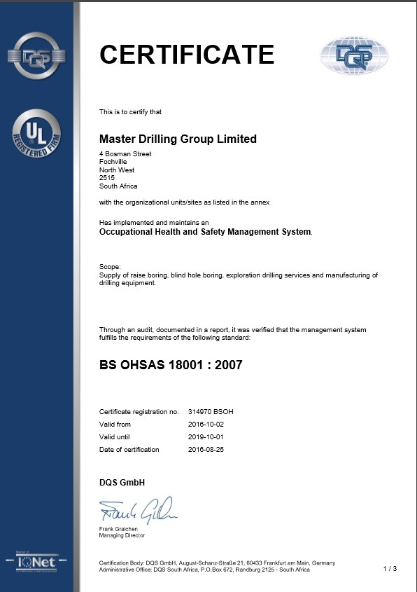 Master Drilling 2016-2019_ISO18001