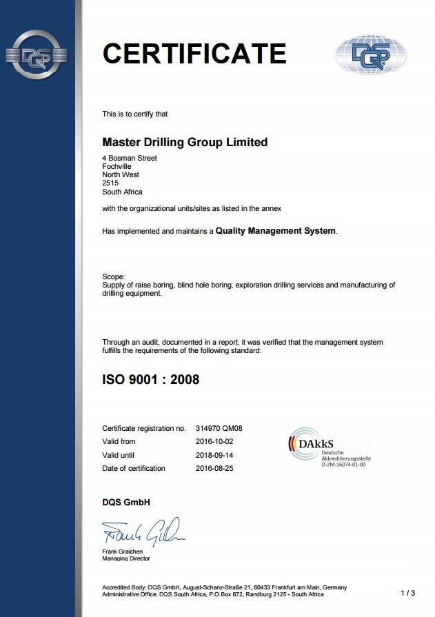 Master Drilling 2016-2019_ISO9001