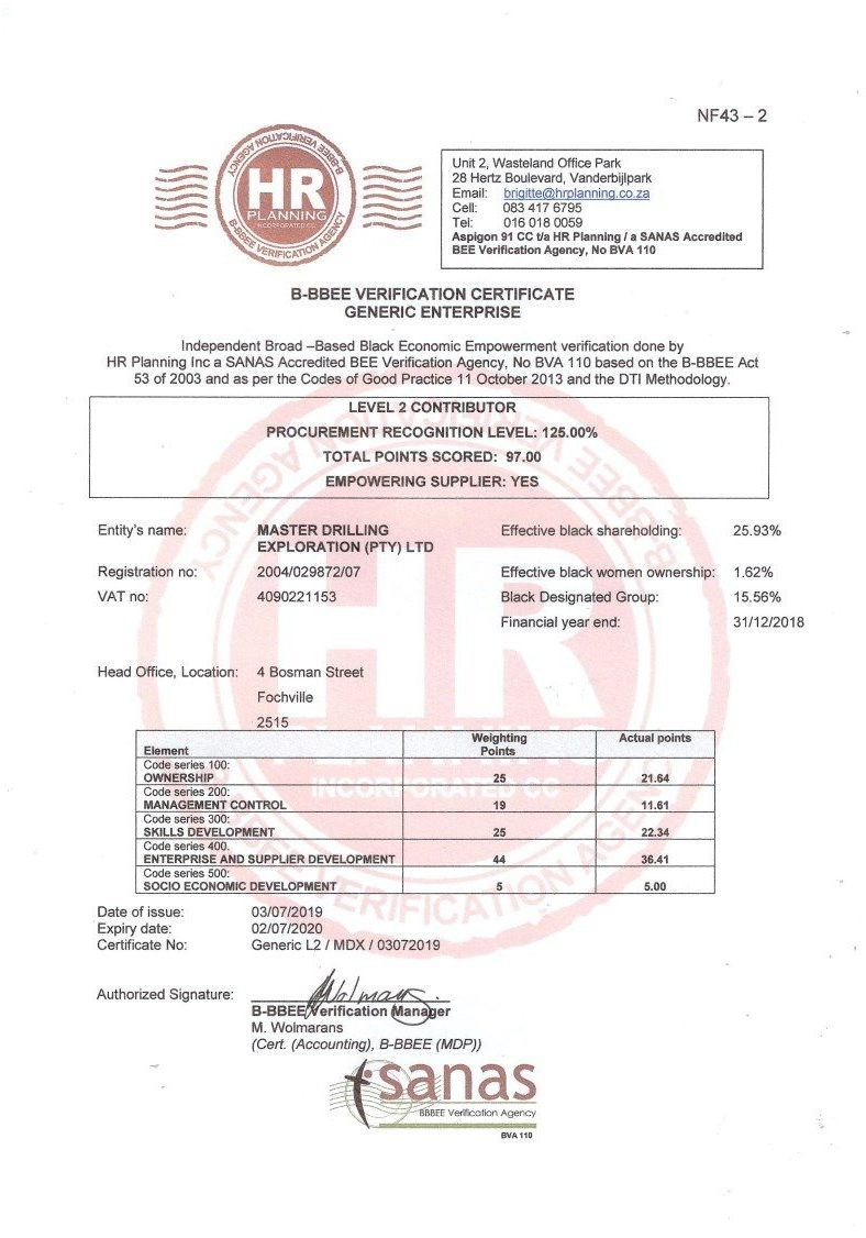 Certificate - Master Drilling Exploration (Pty) Ltd Generic L2 MDX 03072019_1