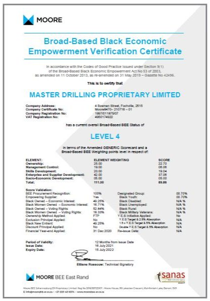 Master Drilling - BBBEE Certificate Image